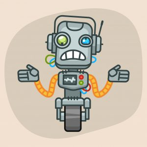 Vector Illustration, Robot Does Not Know What to Do, Format EPS 10